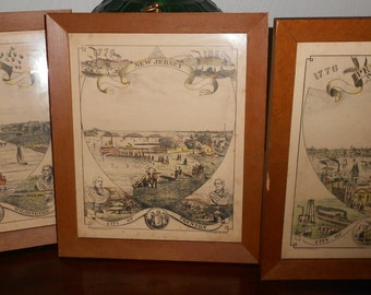 Vintage Historical Cities Hand Colored Art Gravure Lithographs - Framed