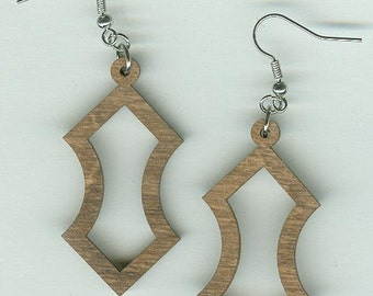 FREE SHIPPING - Hourglass Earrings - Laser Cut Wood (ER-103)