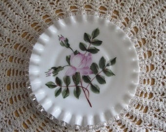 Fenton Milk Glass Silver Crest Pink Rose Plate Charleton Company - FL
