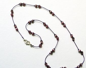 Violet Glass Beads Knotted on Dark Violet Silk Cord Necklace