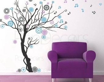 """Tree Decals Living Room Decal Wall Sticker Modern Vinyl Decal - Music tree (78"""" H) - Designed by Popdecors"""