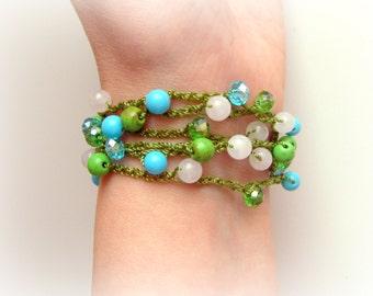 Beach Jewelry, Crochet Boho Bracelet, Chic Jewelry, layered Rope, Surfer Crochet Wrap, Hippie, Gypsy, Chic