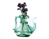 Vintage Venetian Glass Pitcher Pale Aqua Colored Small, Mouth Blown with Applied Rigaree Detail Italian Mid Century Decanter Art Glass Vase