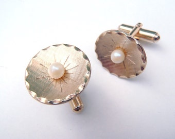 Vintage Gold Tone Faux Pearl Cuff Links Circles Stamped Hinged Back Cufflinks Formal Wedding Groom Suave & Sophisticated Mens Accessory