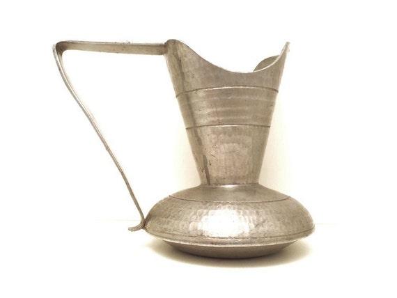 Vintage Hand Forged Pewter Pitcher KHN Banka Tin Werk Hammered Metal Vessel Exotic Arts and Crafts Style Vase