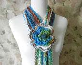 Crochet Lariat Flower Scarf  - Ombre Crochet Scarf