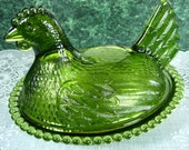 Vintage Indiana Glass: Indiana Glass Green Carnival Hen On Nest