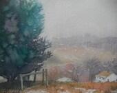 Winter, Origianl Watercolor Painting