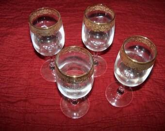 1950's Vintage Gold Trimmed Wine Glasses