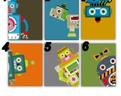 Robot Nursery Wall Art,Set of Four 8x10 prints, great for techno Robot Themed Rooms, Nursery or toddler room, Choose your Robots