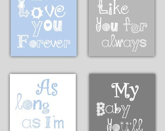 Blue and Gray Art for Kids // Blue Nursery Art Prints // I'll Love You Forever Art // Baby Boy Nursery Decor // Boy Gift // 4-8x10 PRINTS