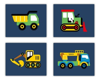 Construction Art // Trucks Nursery Art // Construction Decor for Kids // Construction Trucks Art for Toddlers // 4-8x10 PRINTS ONLY