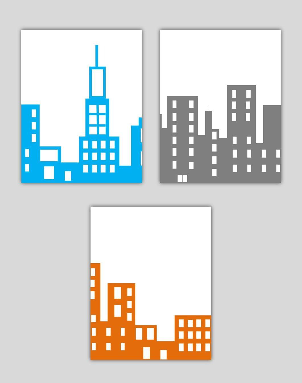 City Skyline Nursery Wall Art Skyline Art Prints City