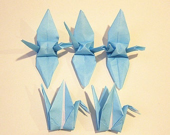 "100 3"" Aqua Blue Navy Sky Blue origami cranes paper cranes wedding party decoration"