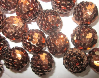 Copper/Brown Woven Beads 20mm Bubblegum Chunky 8 Beads