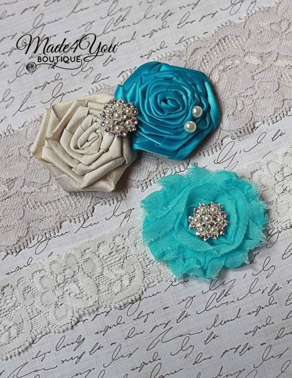 Turquoise Garter Set -Dupioni Silk Garter-Ivory or White Available
