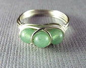 Wire Ring Mint Green Aventurine Ring Silver Nickel Free Wire Wrapped Jewelry
