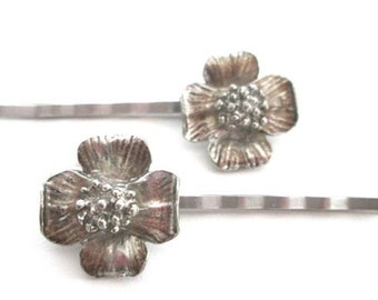 Silver Flower Hairpins Wedding Hair Accessories Spring Bobby Pin Clips