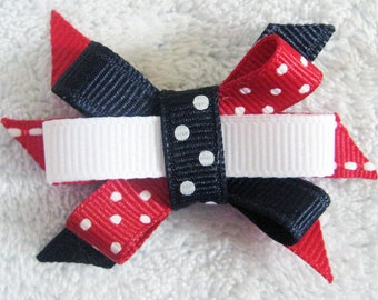 4th of July Red White Navy Blue Itty Bitty Bow