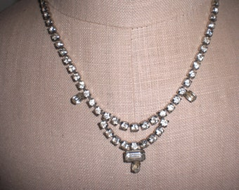 Vintage Rhinestone Choker Necklace 1950s to 1960s Silver Tone Clear Drop