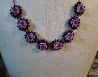 Vintage Black and Purple Plastic Filigree and Shell Necklace Dainty and Screw Back Earrings Set 1950s to 1960s Silver Tone