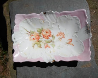Vintage 1940s to 1950s Small Pink Orange Candy/Nuts/Mints Dish Roses Weimar Germany Gold Decor