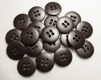 "Dark Chocolate Brown - 11/16"" (18mm) Buttons - Set of 20 New / Unused Matching Buttons"