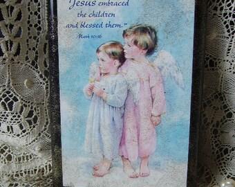 Vintage Plaque, Childs room, Mark 10 16, Jesus blessed the little Children, nursery decor