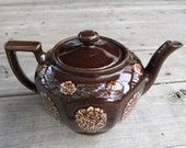 Super Sale - Sweet Brown Tea Pot with Roses and Lid