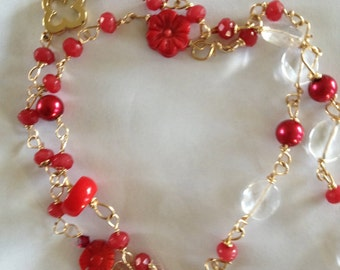 Red Ruby, Red coral, Moonstone, Rock Crystal, Gold Necklace,  jewelry, Lilyb444, Gifts For Her,