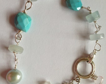 Made to order, Blue pearl, Sleeping Beauty Turquoise, Aquamarine, Rose Quartz, Silver Bracelet, Etsy jewelry, Lilyb444