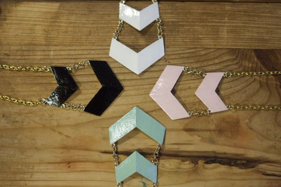 Hand Painted Chevron Necklace ON SALE