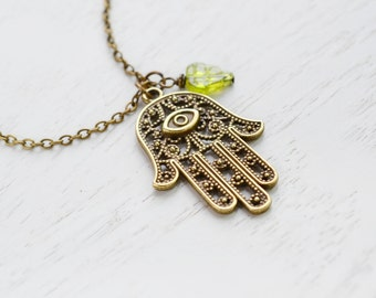 Hamsa Necklace,Hand of Fatima,Hamsa Charm Necklace,Amulet Pendant,Protection from Hamsa Om,Protection Necklace,Religion,Leaf Necklace,Charm
