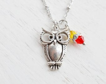 Owl Necklace,Silver Owl JewelryFeathery Owl Pendant,Quirky Owl Necklace,Cute Owl Animal Bird Jewelry Necklace,Sisters symbol