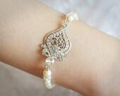 GRACE, Bridal Bracelet, Swarovski Crystal and Pearl Wedding Bracelet, Vintage Style Bracelet Jewelry, Pearl and Rhinestone Bracelet Cuff