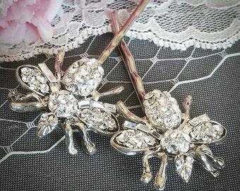 QUEEN BEE, Vintage Style Rhinestone Hair Pins, Swarovski Crystal Wedding Hairpins, Bridal Pair Piece, Wedding Gift, Hair Accessories