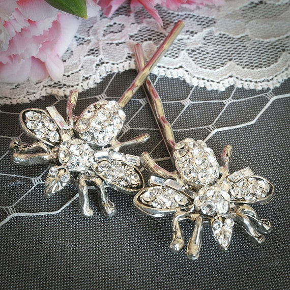 QUEEN BEE, Vintage Style Rhinestone Hair Pins, Swarovski Crystal Wedding Hairpins, Bridal Pair Piece, Wedding Gift, Hair Accessories