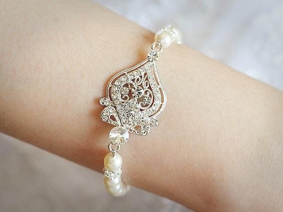 GRACE, Bridal Bracelet, Swarovski Crystal and Pearl Wedding Bracelet, Victorian Style Bracelet Jewelry, Rhinestone Bracelet Cuff