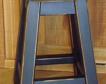 "Reclaimed wood stool/ Primitive/ black/ round stool/ painted/ 16"" - 18"" H"