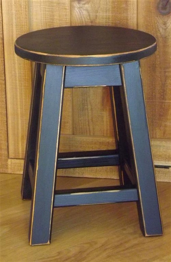 Reclaimed Wood Stool Primitive Black Round Stool Painted