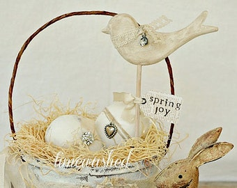 Spring Basket - Bunny and Chickadee - DIY Songbirds - Do It Yourself - Hand Carved Birds by SuppliesbyWKStudios