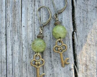 Green earrings skeleton key nature inspired jewelry beaded jewelry unique earrings handmade jewelry