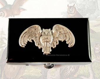 Rectangle Metal Pill Box Antique Silver Owl Inlaid in Black Onyx Enamel Neo Victorian Pill Case