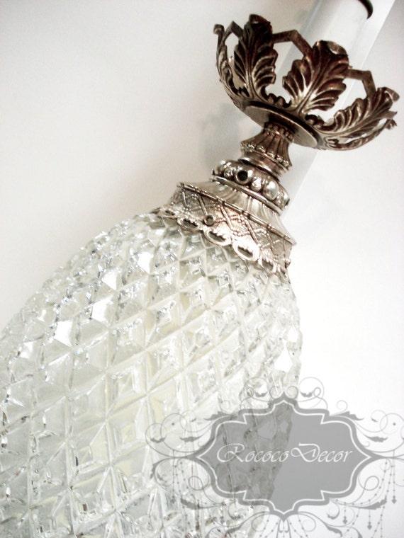 Vintage Hollywood Regency Crystal Glass Table Lamp Vintage