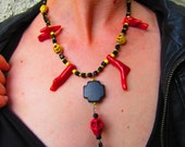 DOWN to the BONE Red, Yellow and Black Cross and Skull Drop Pendant Necklace