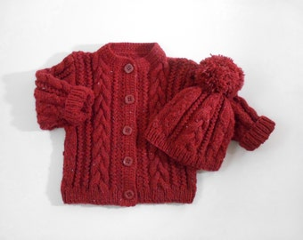 Hand Knitted Baby Cardigan Coat and Hat Hand Knit Baby Sweater Cable Knit Baby Jacket Chunky Knit Baby Sweater Winter- Red, 3 years