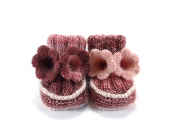 Baby Booties - Hand Knitted with Crochet Bell Flowers - Pink and Red, 0 - 6 months