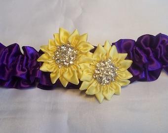 Wedding Garter Set, Purple with Yellow Daisies, Bridal Garter Set