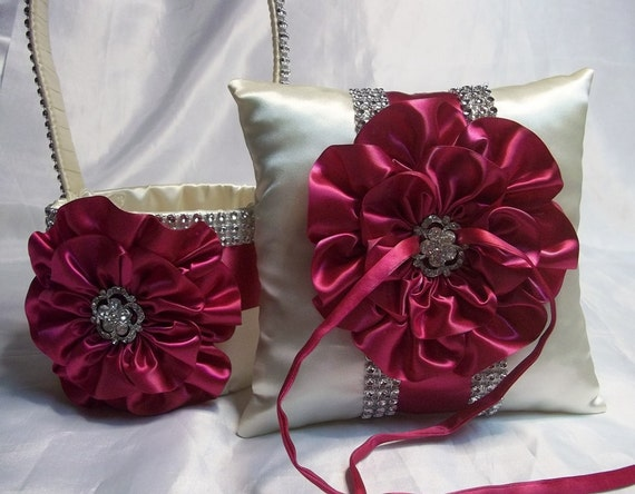 Flower Girl Baskets And Matching Ring Bearer Pillows : Made to order ivory flower girl basket and by allaheartdesires