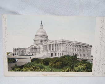 Antique Postcard Postmarked December 23 1905 THE CAPITOL Washington  DC   Free Shipping